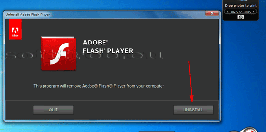 Tutorial Adobe Flash Player dezinstalare - acceptarea dezinstalării
