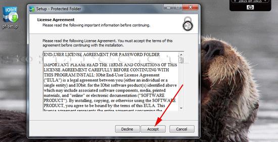 Tutorial IOBit Password Folder instalare acceptare condiții