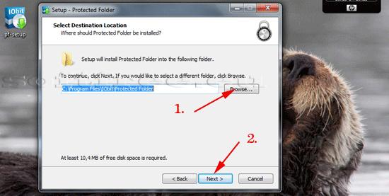 Tutorial IOBit Password Folder instalare alege locația