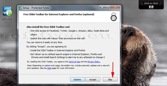 Tutorial IOBit Password Folder instalare opțiuni suplimentare