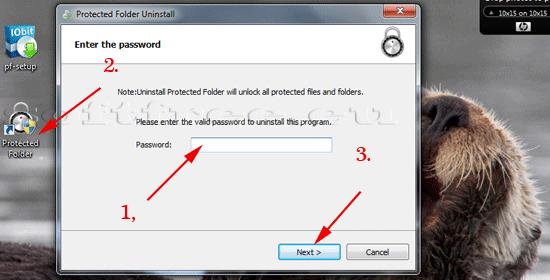 Tutorial IOBit Password Folder dezinstalare introducerea parolei