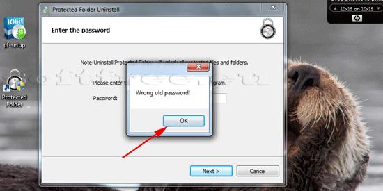 Tutorial IOBit Password Folder dezinstalare, parolă greșită