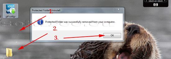 Tutorial IOBit Password Folder dezinstalare terminată