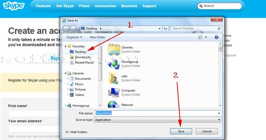 Tutorial Skype salvarea installer-ului pe desktop