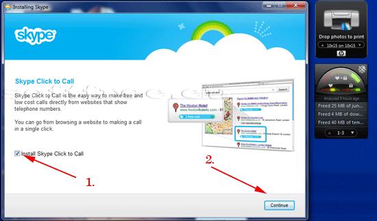 Tutorial Skype alegere componente suplimentare