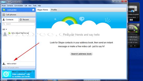 Tutorial Skype adăugare contact