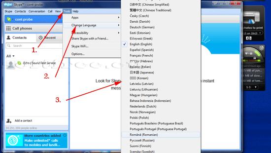 Tutorial Skype schimbare limbă