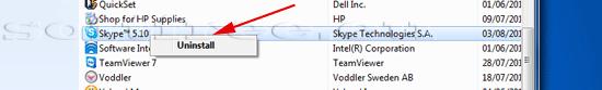Tutorial Skype dezinstalare detectare un-installer-ului în lista de programe