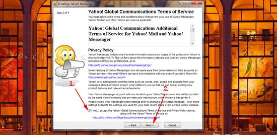 Yahoo! Messenger: Acceptarea termenilor și condițiilor